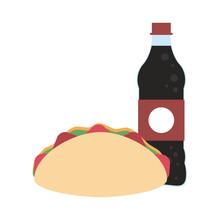 Burrito And Soda Bottle