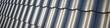 Leinwanddruck Bild Banner zum gewerblich Dachdecken, web Hintergrund für Dachdecker mit Dachziegel auf isolierter Bedachung, Panorama mit Dach Ziegel,