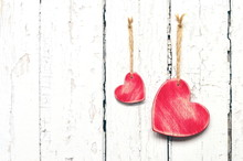 Red Hearts On The White Wooden Background. Valentines Day.