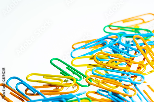 Fotografie, Obraz  color paperclip on white background isolated