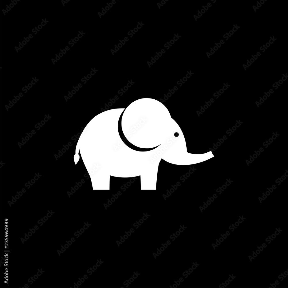 Cute little one, baby elephant icon or logo on dark background