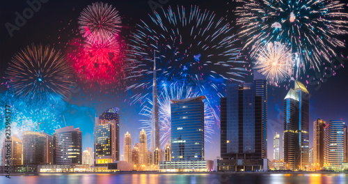 Canvas Beautiful fireworks above Dubai Business bay, UAE