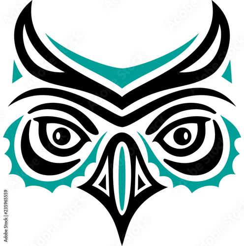 Eulenkopf Im Haida Tattoo Style Eulengesicht Eule Buy
