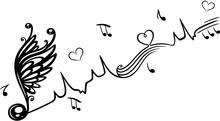 Herzschlag Mit Geflügelter Musik Note Und Herzen. Herz Frequenz. Geflügelte Musiknote Musik Noten Und Herzen.