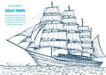 Sail Ship Hand Drawn Sketch. N...