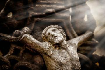 The crucifixion of Jesus Christ. Antique statue. Religion concept.