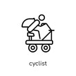 cyclist icon. Trendy modern flat linear vector cyclist icon on white background from thin line Camping collection, outline vector illustration