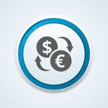 EUR USD Currency Exchange Button Illustration