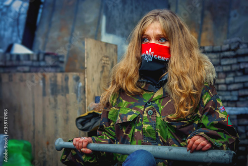A girl from the right sector during demonstrations on EuroMaidan. Kiev