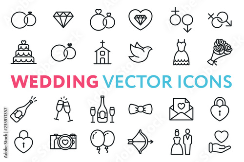 Fotografiet Wedding, Marriage, Engagement, Bridal Flat Line Vector Icon Set