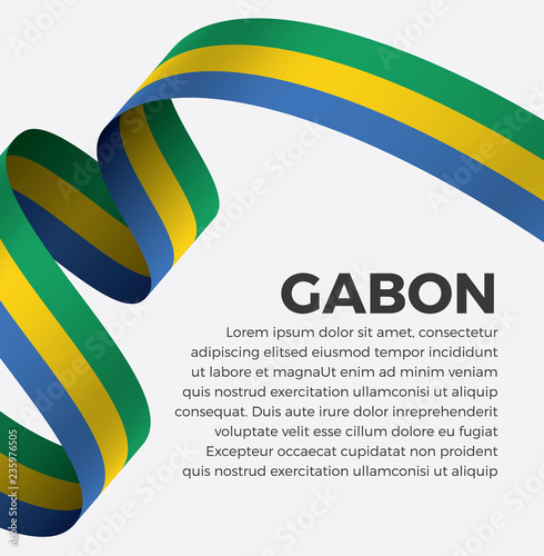 Fotografie, Obraz  Gabon flag, vector illustration on a white background