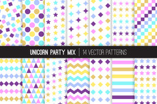 Unicorn Party Vector Patterns. Pastel Rainbow Confetti And Stars Backgrounds. Gradient Multicolor Prints. Repeating Pattern Tile Swatches Included.