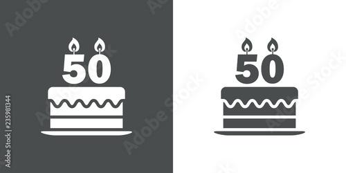 Fotografie, Obraz  Icono plano tarta de 50 aniversario en gris y blanco