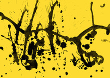 Isolated Artistic Black Watercolor And Ink Paint Splatter Textures And Decorative Elements On Yellow Paper Background.
