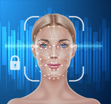 Vector Face Recognition Biometric Scanning Of Girl