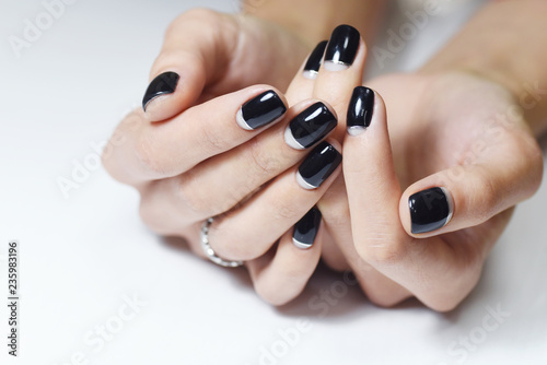 Canvas Print Black Nails Manicure, isolated