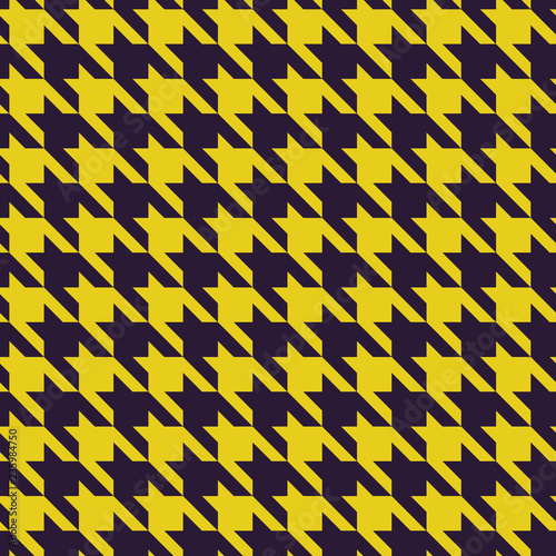 Photo  Houndstooth purple and yellow fabric seamless vector pattern.