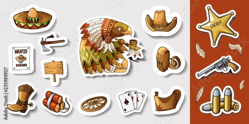 Western wild west art stickers set  Gun, bullets, dynamite and many