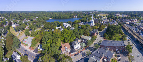 Aerial view of Winchester Center Historic District and First Congregational Church panorama in downtown Winchester, Massachusetts, USA Wallpaper Mural