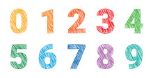 Hand Drawing Colored Numbers, ...