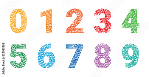 Obraz na plátně hand drawing colored numbers, mathematics numbers illustration vector