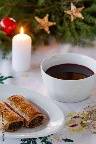 Fototapeta Polish Christmas borscht with mushroom and cabbage pastry homemade obraz