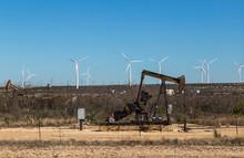 Oil Field And Wind Turbines