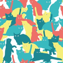 Seamless Pattern With Cats In Military Style