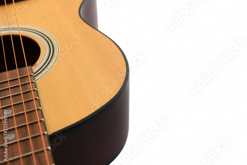 Obraz na plátne  Close up of an acoustic guitar.isolated on a white background