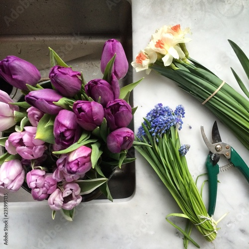 Variety of fresh flowers on table