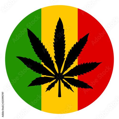 Photo  Marijuana and rastafarian tricolor icon