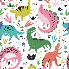 Śliczne dinozaury ręcznie rysowane kolor wektor wzór