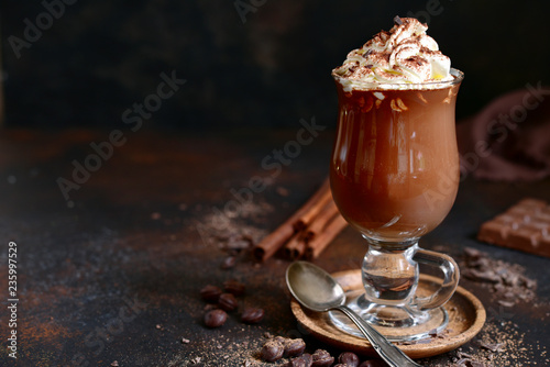 Fotografie, Obraz  Homemade spicy hot chocolate with whipped cream in a glass.