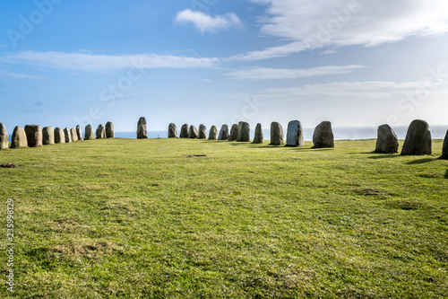 Foto auf Leinwand Skandinavien Ales stones, imposing megalithic monument in Skane, Sweden