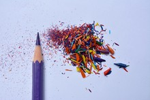 Close Up Of Color Pencil And S...