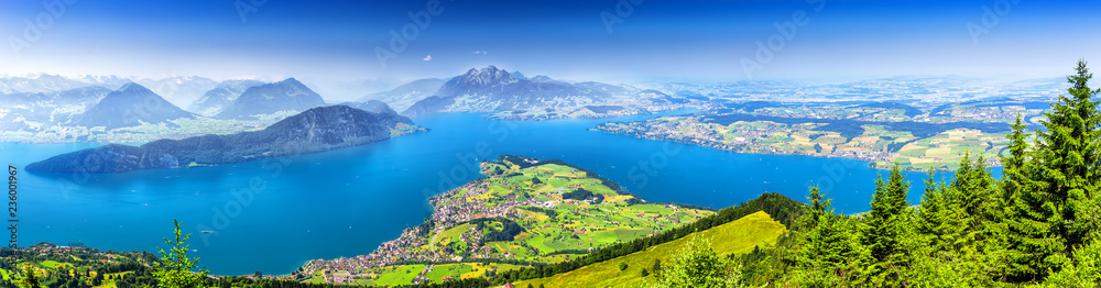 Beautiful view to Lucerne lake (Vierwaldstattersee ) and mountain Pilatus from Rigi, Swiss Alps, Central Switzerland.