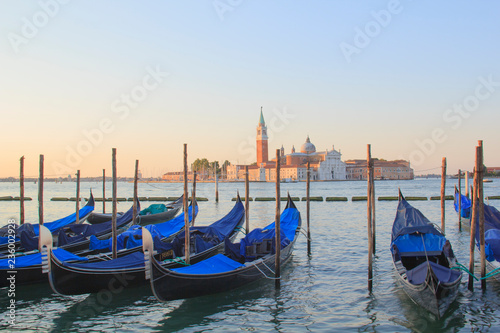 Spoed Foto op Canvas Gondolas Beautiful view of the gondolas and the Cathedral of San Giorgio Maggiore, on an island in the Venetian lagoon, Venice, Italy