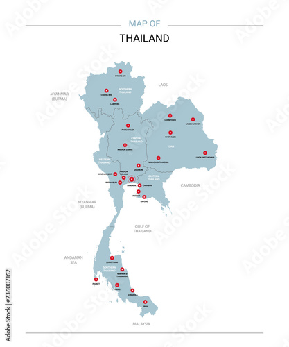 Thailand vector map. Editable template with regions, cities, red ...