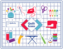 Quilt, Patchwork, Sewing, DIY Icons, Pincushion, Needle, Thread, Iron, Scissors,  Pins, Sewing Label, Fabric, Sewing Machine, Bobbins, Rotary Cutter, Ironing Board, Seam Ripper, Cutting Mat