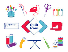 Quilt, Patchwork, Sewing, DIY Icons, Needle, Thread, Iron, Scissors, Safety Pins, Sewing Label, Fabric, Sewing Machine, Pins, Bobbins, Rotary Cutter, Ironing Board, Seam Ripper,  Bobbins.
