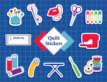 Quilt, Patchwork, Sewing, DIY Stickers, Pincushion, Needle, Thread, Iron, Scissors, Pins, Sewing Label, Fabric, Sewing Machine, Bobbins, Rotary Cutter, Ironing Board, Seam Ripper, Blue Cutting Mat