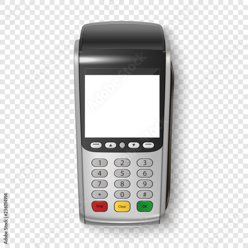 Vector Realistic Silver 3d Payment Machine  POS Terminal