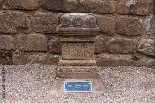 Altar to Nemesis at the Roman Amphitheatre in Chester Canvas Print