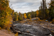Beautiful Fall Foliage On The Cameron River Falls Area Near Yellowknife, Northwest Territories In Canada