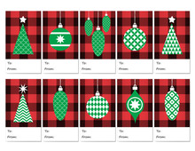 """Christmas Gift Tags In Red Buffalo Check Plaid With Green Christmas Trees & Retro Style Tree Ornaments. Printable TO / FROM Xmas Gift Labels 2""""x3.5"""". Template Letter Size 8.5""""x11"""" / A4 Paper Sheet."""