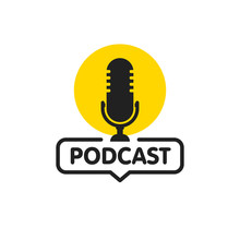 Podcast. Vector Flat Illustration, Icon, Logo Design On White Background