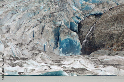 Fotobehang Gletsjers Mendenhall Glacier closeup on an overcast summer day showing the saturated blues of glacial ice.