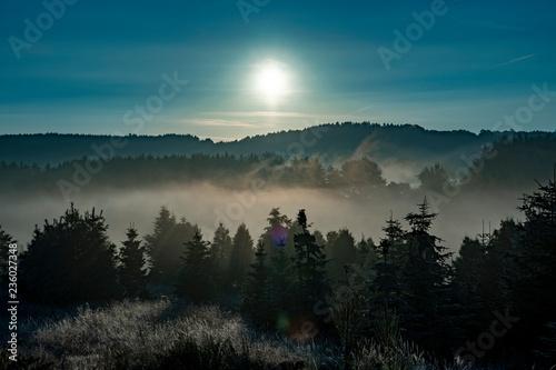 Foto auf AluDibond Blau türkis Sonnenaufgang Nebelschwaden Eifel