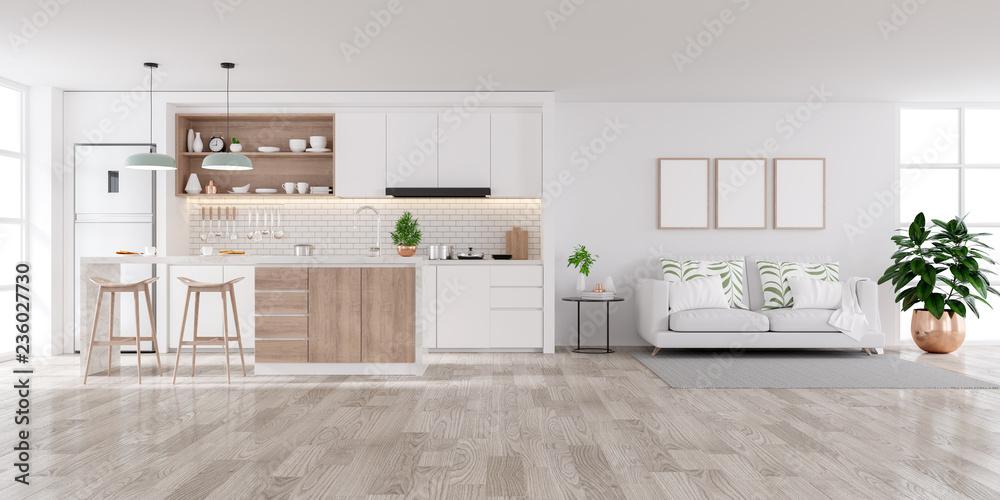 Fototapety, obrazy: Modern white Home interior,living and kichen room  concept design,cozy house ,3drender