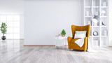 Modern and minimalist interior of living room ,Yellow armchair with white table on white wall and wood floor ,3d render